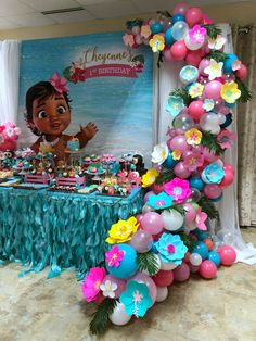 Moana Themed Balloon Garland with Paper Flowers by Cake/Sweet Table styled by - Balloon Decorations 🎈 Moana Theme Birthday, Moana Themed Party, First Birthday Parties, Girl Birthday, Cake Birthday, Moana Birthday Party Ideas, Birthday Ideas, Birthday Table, Birthday Diy