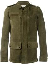 Saint Laurent classic military jacket Saint Laurent classic military jacket Dark green goat suede classic military jacket from Saint Laurent featuring a classic collar, epaulettes on the shoulders, a concealed front fastening, front zipped pockets,... $5,490