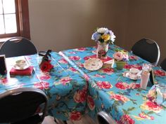 Sweet 16 Vintage Alice in Wonderland Tea Party Birthday Party--The tables are all set (table decor)