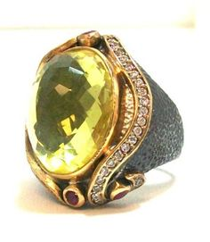 BORA Faceted Lemon Citrine Cocktail Ring with Ruby and White Topaz Accents $246