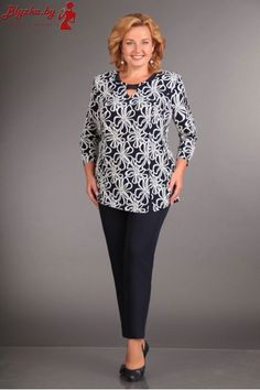 Комплект женский AL-1121 Mom Outfits, Modest Outfits, Casual Outfits, Simple Dresses, Plus Size Dresses, Plus Size Sewing, Over 50 Womens Fashion, Blouse Styles, Fashion Branding