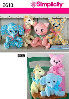 Simplicity Crafts Easy Sewing Pattern 2613 Cuddly Stuffed Animal Toys | Sewing | Patterns | Minerva Crafts