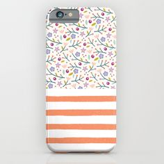 Flowers & Stripes iPhone & iPod Case