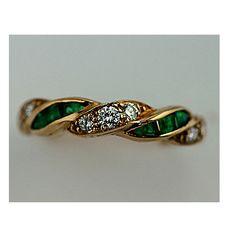 14K Gold Diamond Emerald Celtic Knot Ring Irish celtic Celtic