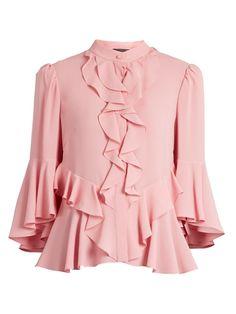 15122965a8511 Alexander McQueen Ruffled-front silk-georgette blouse Ruffle Blouse