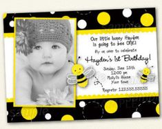 Pink Bumble Bee Birthday Invitations Bee by LollipopPrints on Etsy