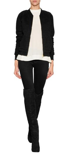 Pretty quilted patterning lends a feminine touch to this edgy bomber jacket from Marc by Marc Jacobs #Stylebop