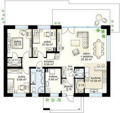 Zacisze IV NF40 projekt - Parter 107.48 m² Floor Plans, Floor Plan Drawing, House Floor Plans