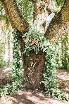 Foraged Greenery Wedding Ceremony Backdrop | Ashley Ludaesher Photography | Back to Nature - Earthy and Organic Wedding Ideas