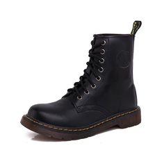 uBeauty Damen Martin Stiefel Flache Boots Klassischer Stiefeletten Schnüren Freizeitschuhe Schwarz 40 EU J1zaIVDG