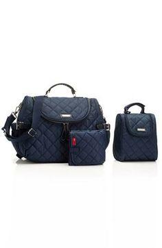 Convenient & stylish. Storksak quilted navy diaper bag.