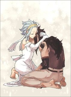 Fairy Tail - Gajeel and Levy. In this picture they look a lot like Elaine and Ban