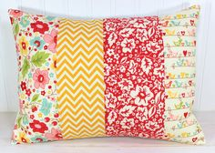 Throw Pillow Cover - Nursery Cushion Cover - 12 x 16 Inches - Red Yellow Chevron Flowers Bird Diy Throw Pillows, Cute Pillows, Sewing Pillows, Throw Pillow Covers, Decorative Pillows, Pillow Cases, Cushion Cover Designs, Cushion Covers, Bed Covers