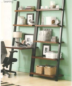 leaning shelf as office ..perfect small spaces     GOOD IDEA!, MAYBE NEXT PLACE???