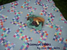 "Moda Bake Shop: Bloomin' Peaks Quilt - another great way/reason to use up those 2.5"" squares....let's see....87 9-patch blocks....3 rows of 3 squares...only 261 or so rows of 3 blocks.  Pfffft, child's play."