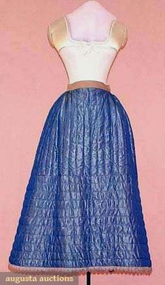 Augusta Auctions, May 2008 Vintage Fashion & Antique Textile Sale, Lot 650: Quilted Silk Winter Petticoat, 1840s