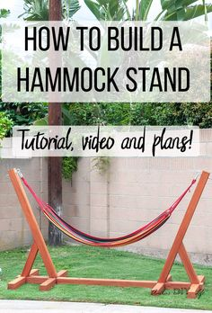 Easy DIY Hammock Stand Using 3 Tools - Full Tutorial, Video and Plans This is so easy and awesome! Easy and simple DIY Hammock stand! How to build a wooden hammock stand. There are plans, video and a full tutorial to make this! Diy Outdoor Furniture, Diy Furniture Projects, Diy Wood Projects, Outdoor Projects, Woodworking Projects, Woodworking Furniture, Custom Woodworking, Fine Woodworking, Furniture Stores