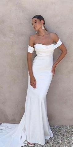 42 Off The Shoulder Wedding Dresses To See ❤ off the shoulder wedding dresses sheath sweetheart neckline simple beach jane hill #weddingforward #wedding #bride