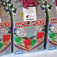 #Monopoly travel game as a party favor @Gina Iannarelli wedding favor for jer?
