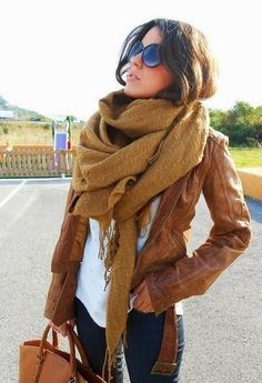 big scarf tight jacket and jeans