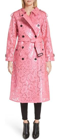 eastheath coated lace trench coat by Burberry. A classic trench coat with heritage details like belted cuffs, epaulets and double-breasted buttons gets a playfully modern update with a flamingo-pink lace coated in a glossy, waterproof finish. Style Name: Burberry Eastheath Coated Lac... #burberry #coats #outerwear
