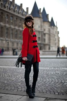 Louise Ebel street style fashion in Paris with gorgeous red jacket