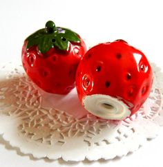 Vintage Strawberry Salt And Pepper Shakers.