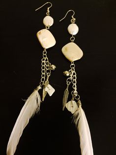 aaseagypsy jewels; white pearl white feather funky festival gypsy earrings;