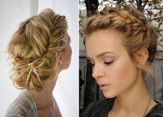 Sugestão de penteado para madrinhas: tiara de trança holandesa com um coque bagunçado.