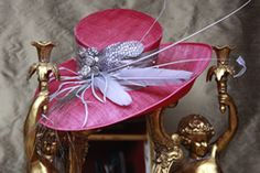 Cerise wedding hat by Jenny Edwards-Moss Stow-on-the-Wold.
