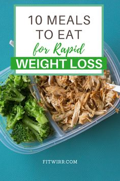 10 meals to eat for rapid weight loss. Have no idea what to what to eat to lose weight? Here are my 10 best weight loss meals that are delicious and f Weight Loss Meals, Weight Loss Drinks, Diet Plans To Lose Weight, How To Lose Weight Fast, Meals For Losing Weight, Snacks For Weight Loss, Rapid Weight Loss, Diet Meal Plans To Lose Weight, Quick Weight Loss Diet