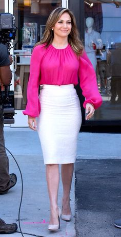 Jlo business attire outfit professional pink fashion