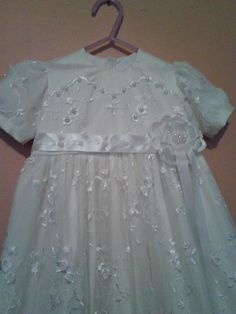 girls dupion silk heirloom gown with bridal netting lace over lay with pearls $289 ring 0427820744 made to order SOLD