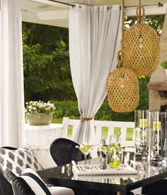 Outdoor curtains in corners. Hammock Swing, Pergola Swing, Cheap Pergola, Pergola Kits, Pergola Cover, Gazebo, Outdoor Living Rooms, Outdoor Dining, Outdoor Spaces