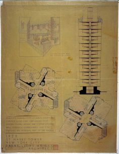 Frank Lloyd Wright (American, 1867–1959). St. Mark's-in-the-Bouwerie Tower, New York. Project, 1927–31. Section and perspective cutaway of a...