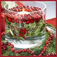 Cranberry Candle Arrangement and Vase Filler for the Holidays - by BH