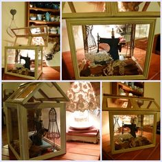 Glass house made from old picture frames (from Junk-it Junction) Fairy Doors On Trees, Old Picture Frames, Craft Ideas, Decor Ideas, Diy Home Crafts, House Made, Glass House, Miniture Things, Doll Houses