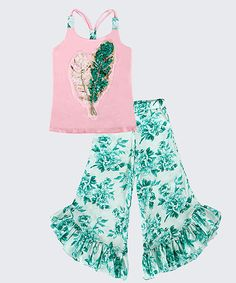 Look at this Mia Belle Baby Pink Maritza Sequin Tank & Palazzo Pants - Toddler & Girls on #zulily today!