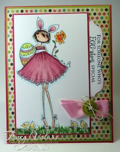 Copic card using the Stamping Bella - Bunne with Her Daffodil stamp.  Made by Tracy