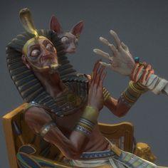 Pharaoh Of the Dead, Pierre-Dante Delboulle on ArtStation at https://www.artstation.com/artwork/N04P