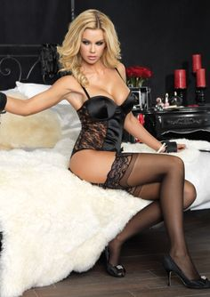d0964becf2b03 Padded Underwire Satin Teddy with Lace Side and Garters Satin Lingerie