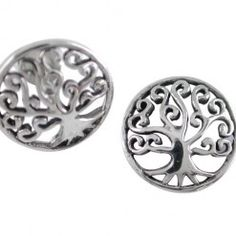 Sterling Silver 12mm Round Fancy Tree Of Life Stud Earrings