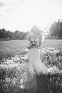wedding rustic field pasture sunshine flowers