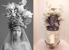 love the whimsical feel of the deer and these gorgeous delicate details of the lace and head piece flowers and feathers.