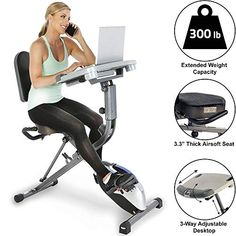 Exerpeutic Exerwork 1000 Fully Adjustable Desk Folding Exercise Bike with Pulse, Size: Exerpeutic WORKFIT Desk Station Exercise Bike, Multi-color Exercise Bike Reviews, Best Exercise Bike, Walking Exercise, Office Exercise, Folding Exercise Bike, Upright Exercise Bike, Desk Workout, Workout At Work, Perfect Workout