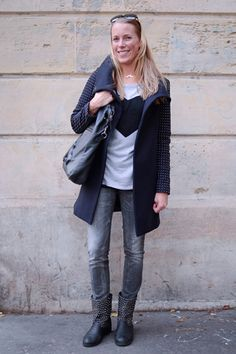 Navy coat, denim