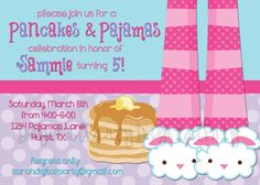 Pancakes and Pajama Party Invitation 4x6 or 5x7 by DigitalParty, $8.00