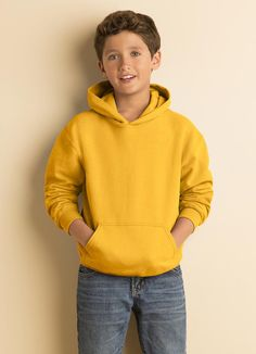 If you need a few affordable youth hoodies, this Gildan Heavy Blend 50/50 Youth Hooded Sweatshirt is a fantastic option. It's a blend of 50/50 cotton/polyester, and is 13.5-ounces. It's got a double-lined hood and double-needle shoulders, hood, armholes, cuffs and pouch pocket with a banded bottom. Mens College Fashion, Hooded Sweatshirts, Hoodies, 50th, Cuffs, Pouch, Pocket, Stylish, Sweaters