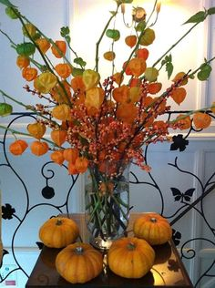 Autumn display of Chinese Lanterns, berries and pumpkins from George Mackay Flowers