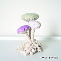 HOLD until 6-15 for PG - Woodland Vintage Textile Mushroom Fungi Cluster with Moss Fabric Soft Sculpture in Tan Purple Lavender Mint. $30.00, via Etsy.